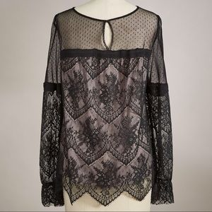 Sundance Tops - Romantic Lace Blouse Black Long Sleeves Sundance